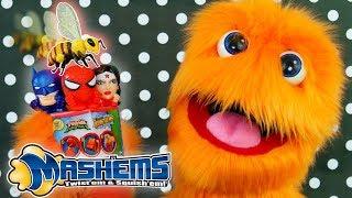 50 MASHEMS & FASHEMS OPENING! 😂 Fuzzy Puppet video for kids with Spiderman Venom Batman & Superman!