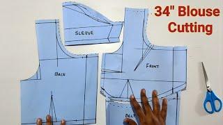 34 size blouse cutting | 34 inch blouse cutting | 34 inch blouse patten making