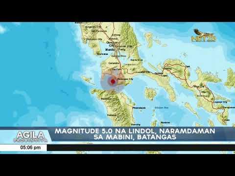 [EagleNewsPH]  Magnitude 5.0 na lindol, naramdaman sa Mabini, Batangas