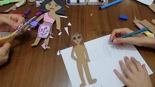 CHALLENGE Bebeğini Çiz Boya Kes Giydir (Paper Dolls) Kağıttan Kombin Challenge Bidünya Oyuncak🦄