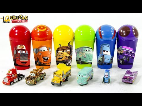 Learning Color Disney Pixar Cars Lightning McQueen Rainbow Color Ball Cup Play For Kids Car Toys