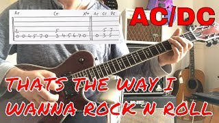 AC/DC -Tha'ts The Way I Wanna Rock 'N' Roll guitar play along with guitar tab