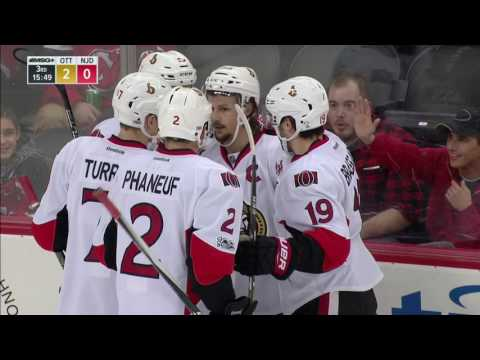 Karlsson snaps home a lazer after some give and go with Phaneuf