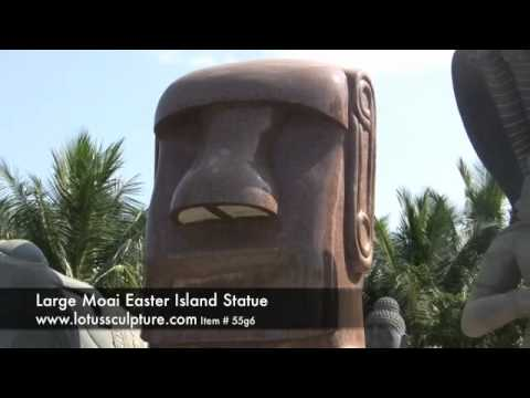 Custom Pink Granite Polished Moai Head 90