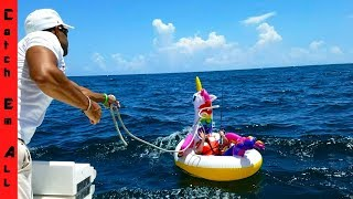 SHARK PULLS Guy 2 MILES in OCEAN on UNICORN POOL FLOATY!
