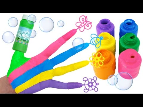 Learn Colors for Kids Painted Hands Bubbles Finger Family Nursery Rhymes RL