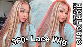 BLONDE HIGHLIGHT 360 LACE WIG | How to cut the lace off a 360 lace wig ft. Superbwigs