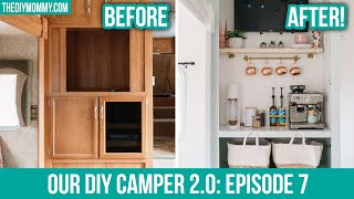 DIY CAMPER MAKEOVER | Entertainment Unit to COFFEE BAR!
