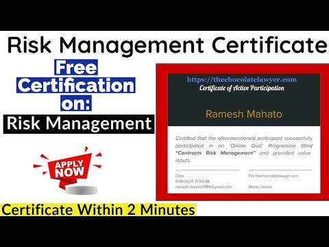Risk Management Certification | National Level Quiz Certificate ...