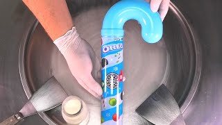 Oreo Ice Cream Rolls | satisfying video of making fried Ice Cream rolled with Oreo Candy Cane | ASMR
