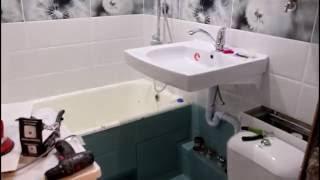 ремонт ванной комнаты Владивосток , Уссурийск. (1500*1900 мм) Раковина над стиральной машинкой