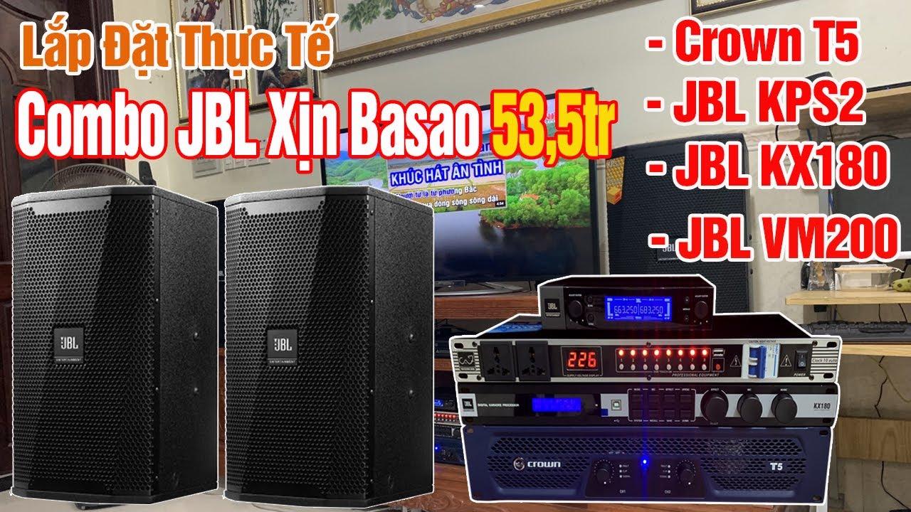 Lắp đặt dàn karaoke loa JBL với cục đẩy Crown T5 và Micro JBL VM200, vang số JBL KX180 hay mà chất.