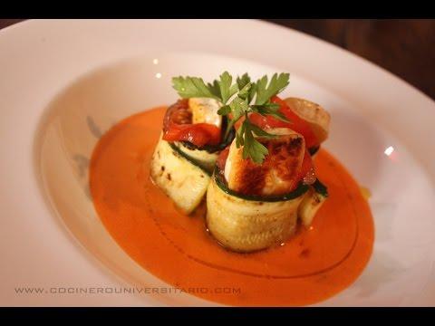 Calabacín con tomate y queso brie