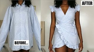 DIY Ruffle Wrap Dress From A Mens Shirt!! | Mens Shirt Refashion