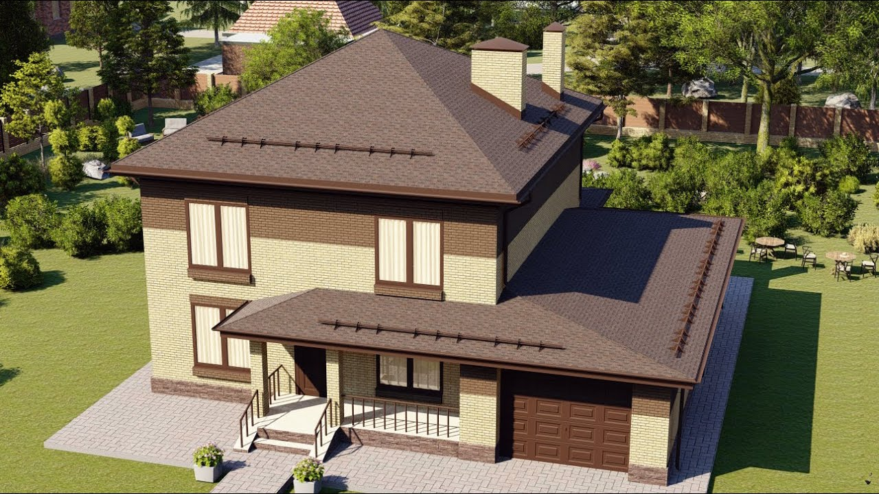 Двухэтажный дом из газобетона с большим гаражом и террасой 160 м2