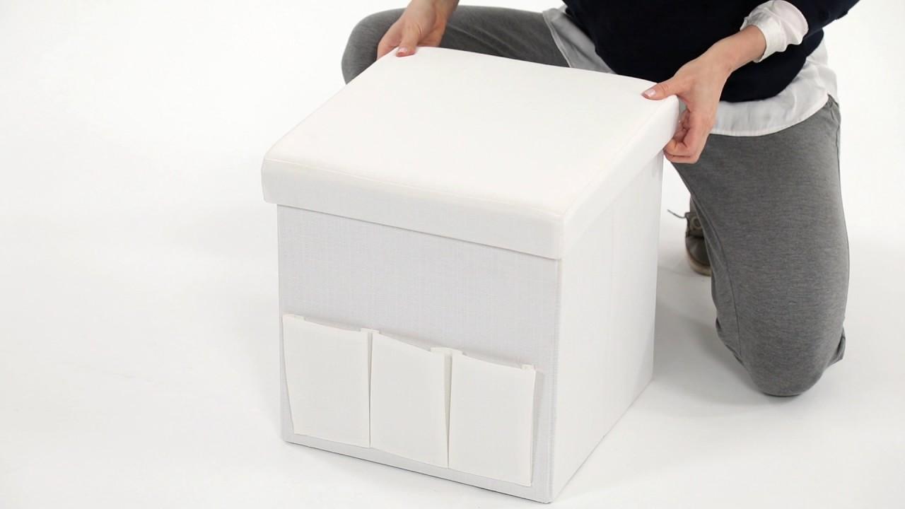 Faltbarer sitzhocker leinen mit taschen faltbar kaufen relaxdays