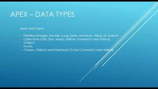Salesforce Apex Tutorial: Data Types
