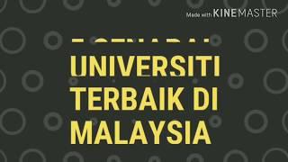 Fakta!!! 5 Senarai Universiti Terbaik Di Malaysia Pada Tahun 2018/2019