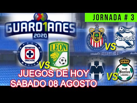 JUEGOS DE HOY SABADO LIGA MX JORNADA 3 TORNEO GUARD1ANES ( APERTURA 2020 )