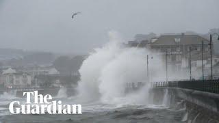 Storm Callum: high tide batters promenade in Penzance