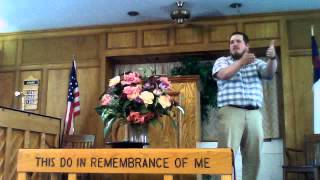 "Pastor Cody Kohlman preaching ""God is All"" from Psalm 18:1-6 on 05-17-15 AM"