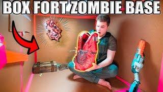 24 HOUR BOX FORT ZOMBIE BASE!! We Got A Secret Package