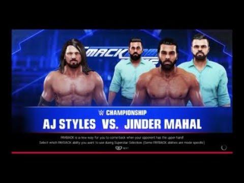 WWE 2K19-WWE Championship Match: AJ Styles vs. Jinder Mahal (Smackdown Live).