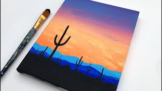 Acrylic Painting For Beginners | Cactus Simple Sunset | Easy Acrylic Painting Tutorial on Canvas