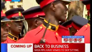 Preparations outside parliament for 12th parliament opening by Uhuru