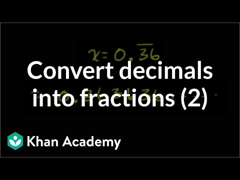 Converting Repeating Decimals To Fractions Part 2 Of Video Khan Academy