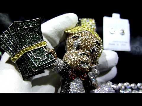 CUSTOM Lab Made Diamond RICHIE RICH Pendant+Cluster Chain+Bracelet+360 ring! LAB MADE JEWELRY