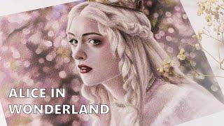 Рисую Белую королеву цветными карандашами | Alice in Wonderland art