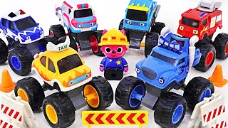 BabyBus Police Car is dispatched! Catch the thief! Baby bus Taxi, Truck play   PinkyPopTOY