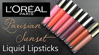 L'Oreal PARISIAN SUNSET Rouge Signature Matte Ink: LIP SWATCHES & Review