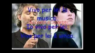 Vivo per lei con testo -Andrea Bocelli e Giorgia