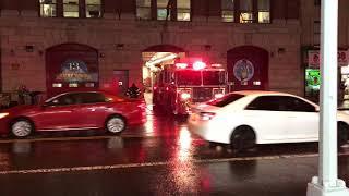 VERY STUPID MORON, GOING AROUND FDNY ENGINE 93, AS IT PREPARES TO RESPOND TO A EMERGENCY CALL.