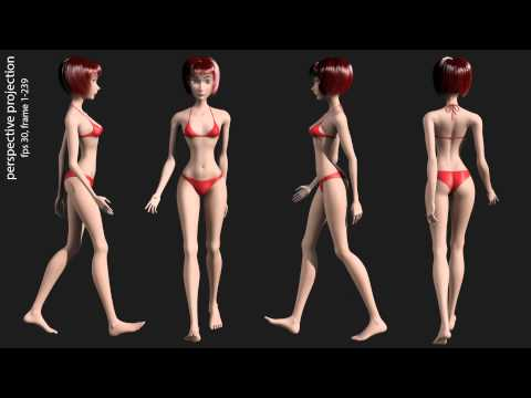 Maya 2014 3D render animation sexy girls in bikini, animation gait and dynamics hair full HD video