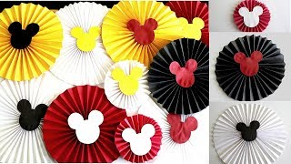 Easy Birthday Decoration Ideas At Home/DIY Mickey Mouse Paper Rosette Flower In 3 Different Sizes