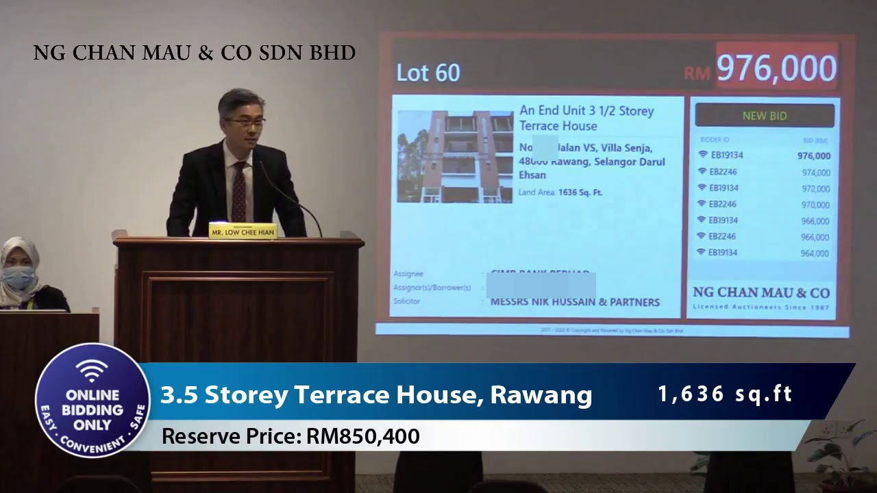 Landed Property in Rawang Sold Below Market Price via Online Bidding