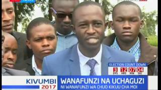 Moi University students pass a peace message to Kenyan politicians and citizens