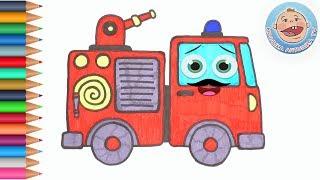 Раскраска для детей - Пожарная машина - Крошка Антошка