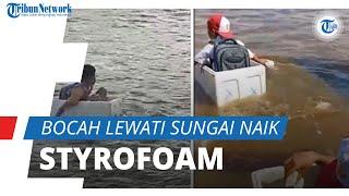 Viral Video Bocah Seberangi Sungai Naik Styrofoam ke Sekolah, Camat: Tak Ada Akses Jembatan di Sini