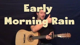 Early Morning Rain (Elvis) Easy Guitar Lesson Strum Fingerstyle How to Play with Licks