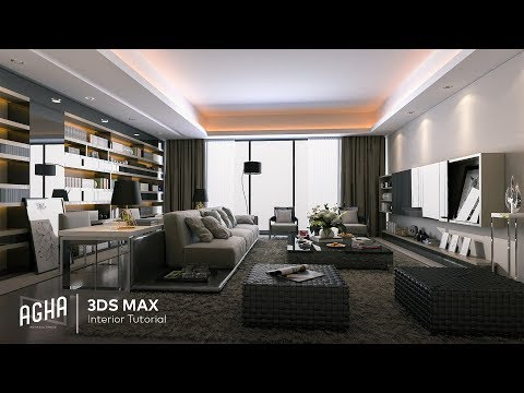 modeling living room in 3ds max tutorial by aghasoltan soltanov