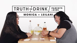 Parents and Kids Play Truth or Drink (Monica & Leilani) | Truth or Drink | Cut