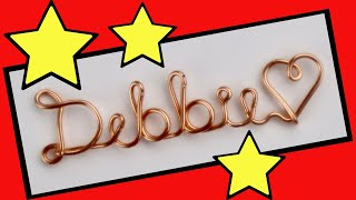 Wire Name Necklace Tutorial: Debbie Pendant With A Heart