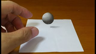 Very Easy!! How To Drawing 3D Floating METAL BALL  - Anamorphic Illusion - 3D Trick Art On Paper