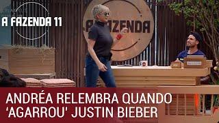 Andréa Nóbrega relembra quando 'agarrou' Justin Bieber   A Fazenda
