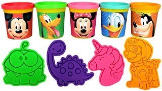 Mickey Mouse Play Doh Can Heads & Fun Play Doh Molds Learn Colors with Minnie Daisy Donald Pluto