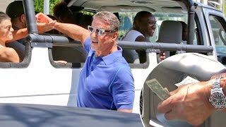 Sly Stallone Is Generous To Fans And Paparazzo, But Tips Valet Light At The Palm